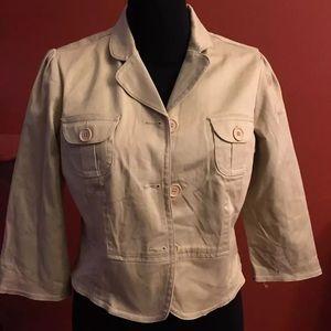 Cato Khaki Jacket SZ L 3/4 Sleeve Casual